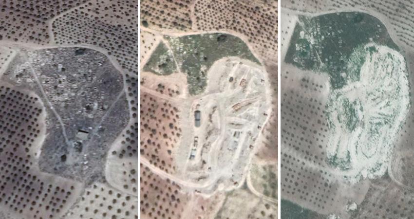 أدلة بصرية جديدة حول جرف مزار ديني وقبور في عفرين