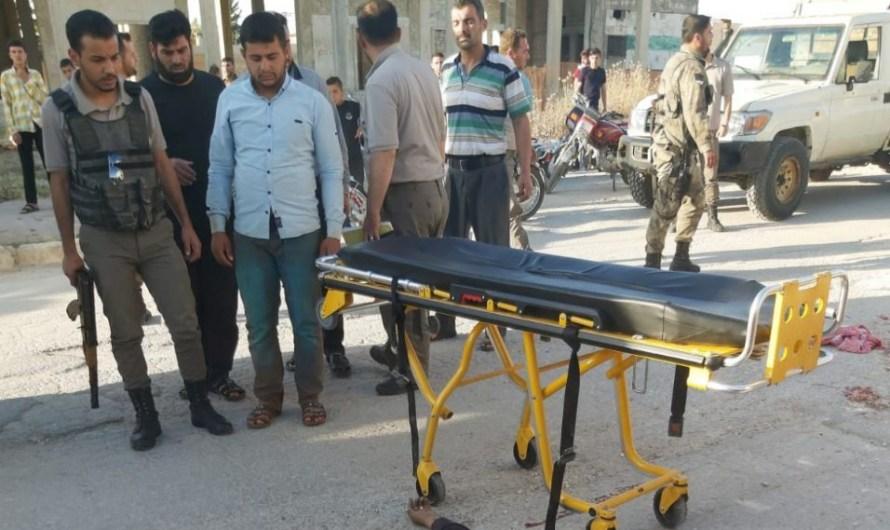 مدرعة تركية تدهس شرطياً في مدينة مارع بريف حلب(فيديو)