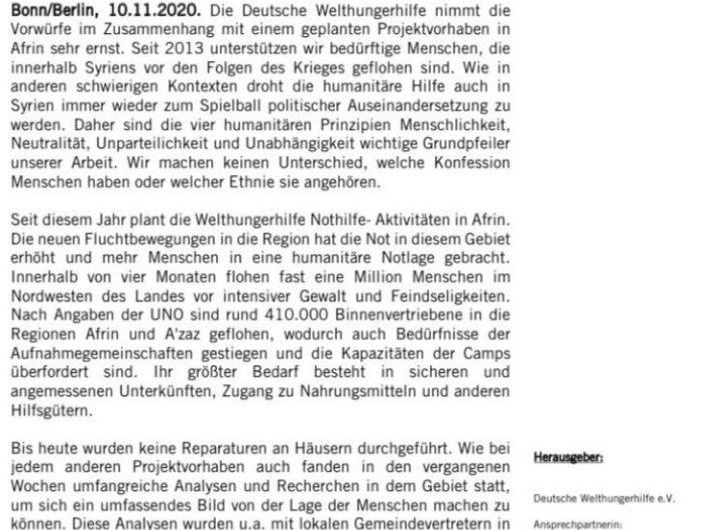 """بعد انتقادات حادة … المنظمة الألمانية ڤيلت هنگر هيلفيه تتراجع وتوقف"""" ترميم أو بناء بيوت للمستوطنين"""" في عفرين"""
