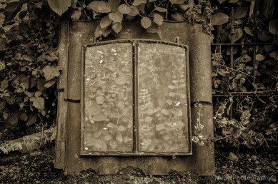 Old rusty attic window