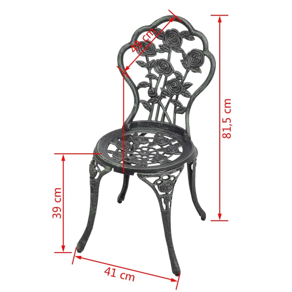 Bistro Table And Chairs Set Cast Aluminium Metal Garden