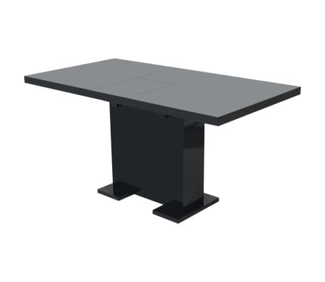 vidaxl table extensible de salle a manger noir brillant