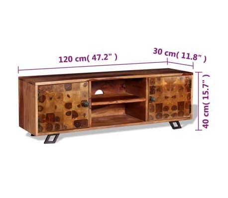 vidaxl meuble tv bois massif de sesham 120 x 30 x 40 cm