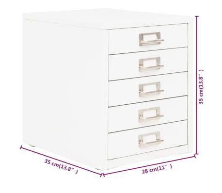 vidaxl classeur a 5 tiroirs metal 28 x 35 x 35 cm blanc 9