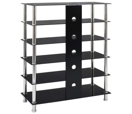 details sur vidaxl support hifi noir verre trempe meuble etagere armoire stereo salon