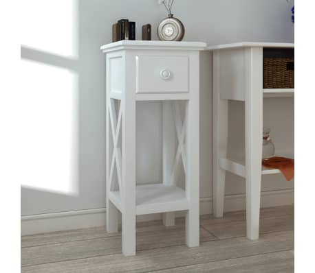 vidaxl table d appoint avec tiroir blanc
