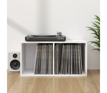 vidaxl boite de rangement de vinyles blanc 71x34x36 cm agglomere