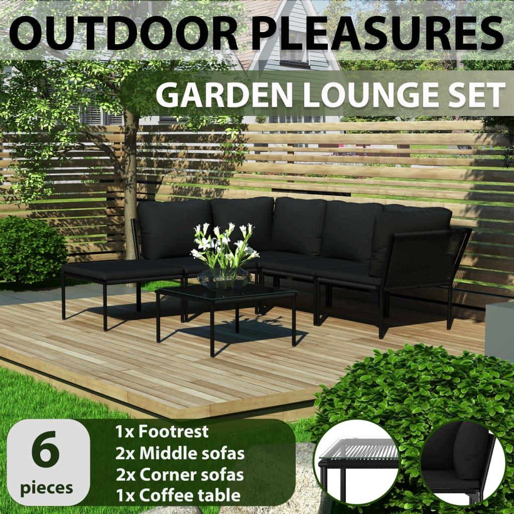 details about vidaxl 6 piece garden lounge set with cushions black pvc outdoor furniture