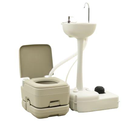 vidaxl portable camping toilet 2 6 2 6 gal and handwash stand 5 3 gal set gray