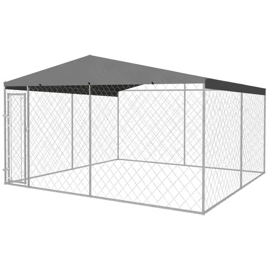 Vidaxl Outdoor Dog Kennel With Roof 400x400 Cm