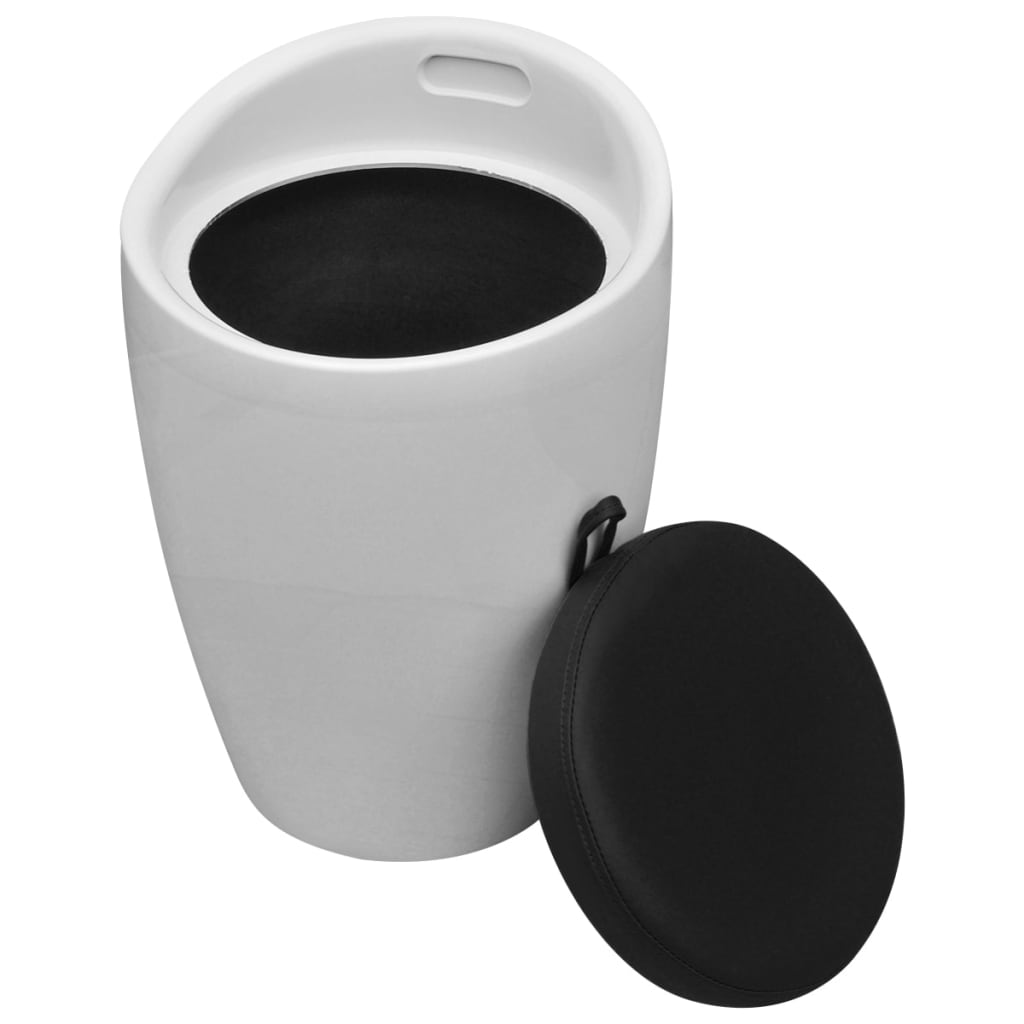 Acheter Tabouret ABS Rond Blanc Avec Sige Amovible Noir