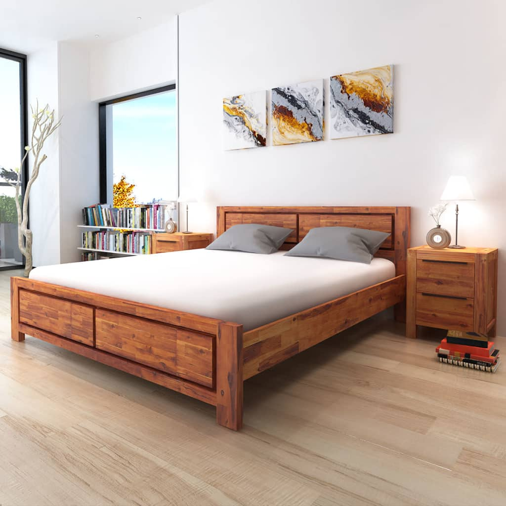 Vidaxl Bed Frame Solid Acacia Wood King Size Wooden Brown