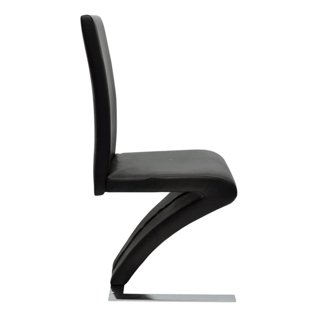 6 Pcs Artificial Leather Iron Black Dining Chair Zigzag Shape