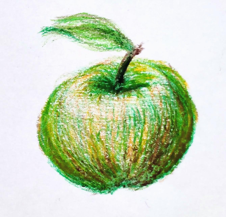 Une pomme en volume et couleur (pastel gras)