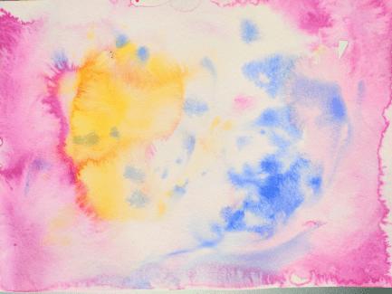 Une peinture intuitive avec beaucoup d'eau et quelques gouttes d'aquarelle
