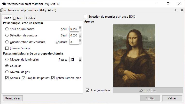InkScape : Vectoriser une image avec 30 passes