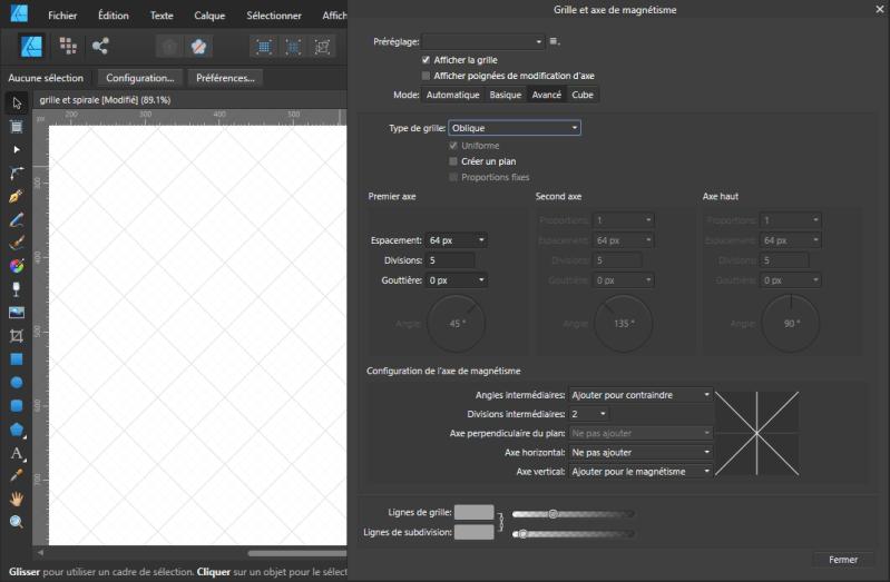 Grille oblique sur Affinity Designer