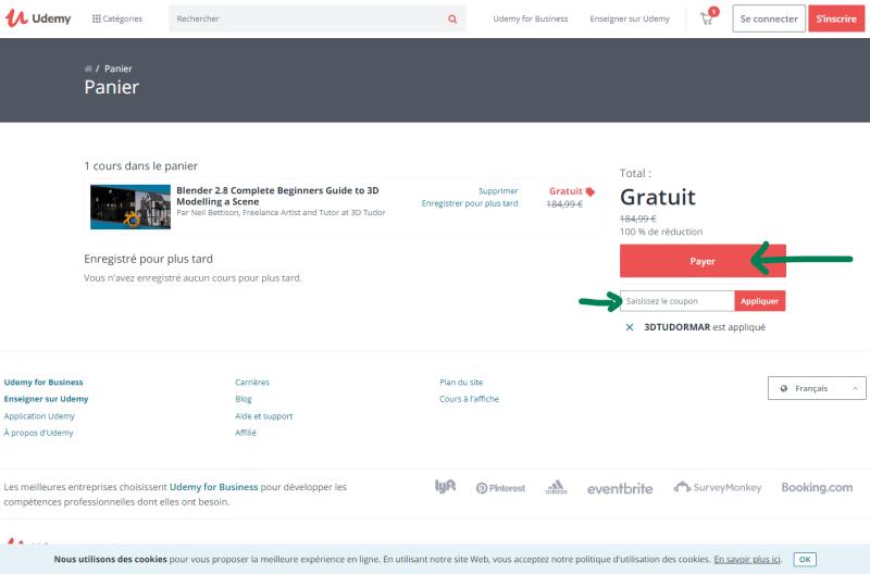 Cours gratuits de graphisme sur Udemy : cliquer sur Payer
