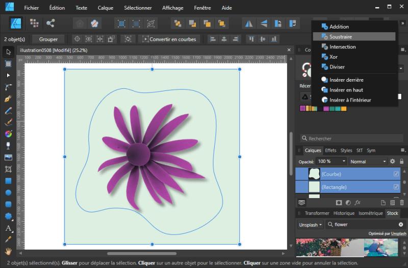 Tuto Affinity Designer : Dupliquer le rectangle du fond, sélectionner l'un des deux rectangles et la courbe du centre et soustraire la courbe au rectangle via les Booléens (16)