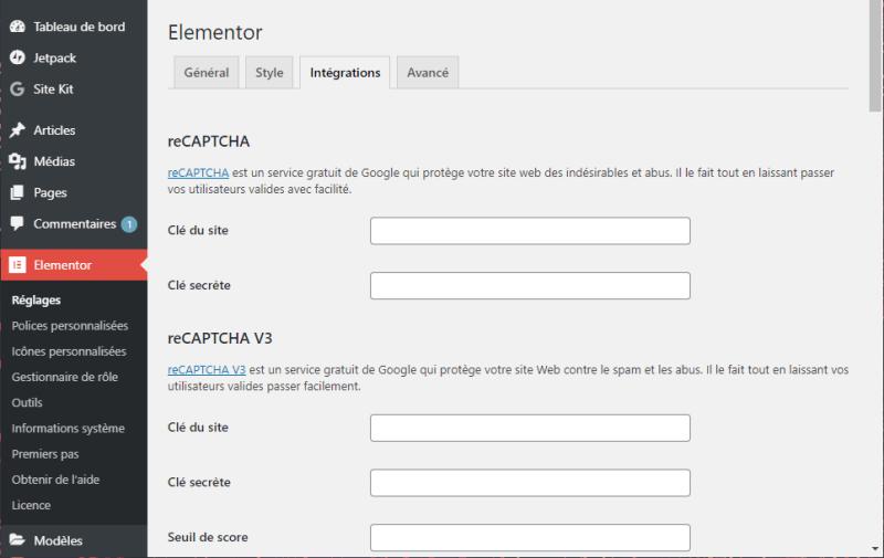 Elementor Pro dans la barre latérale WordPress : Intégration