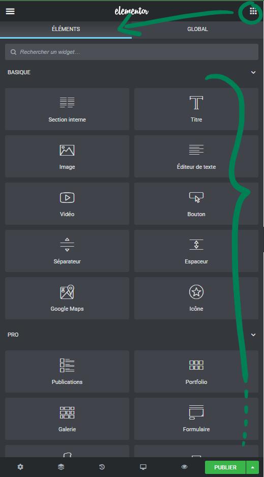 Elementor Pro : les éléments