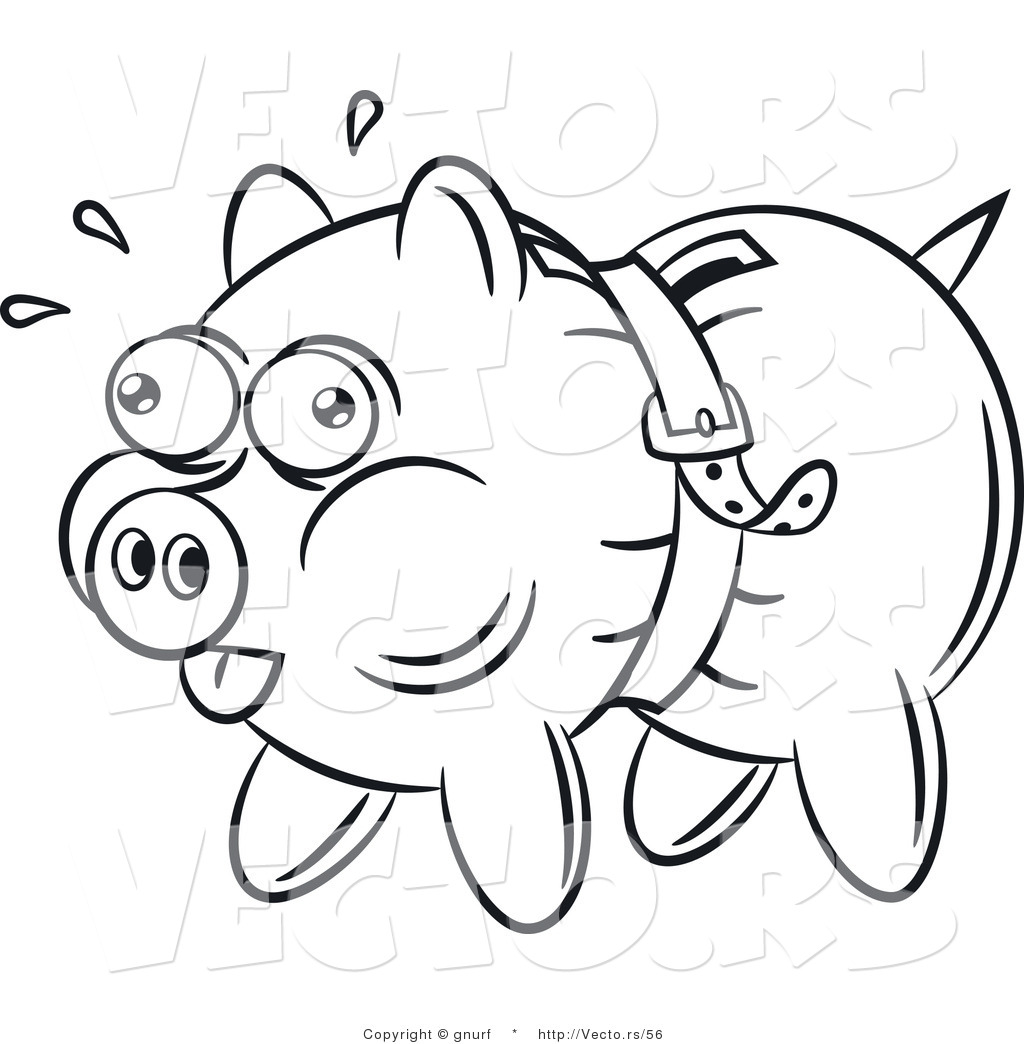 Vector Line Drawing Of A Piggy Bank Being Squeezed Tight