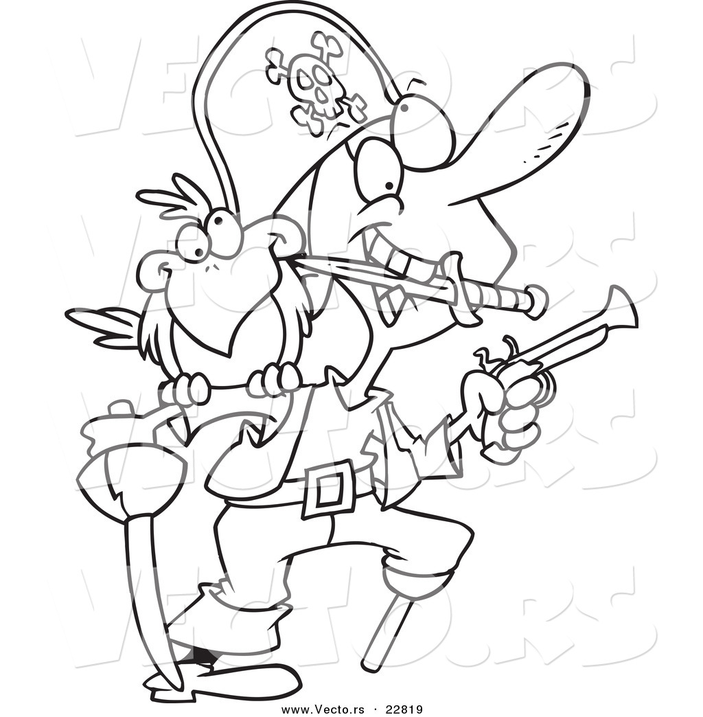 Vector Of A Cartoon Armed Pirate