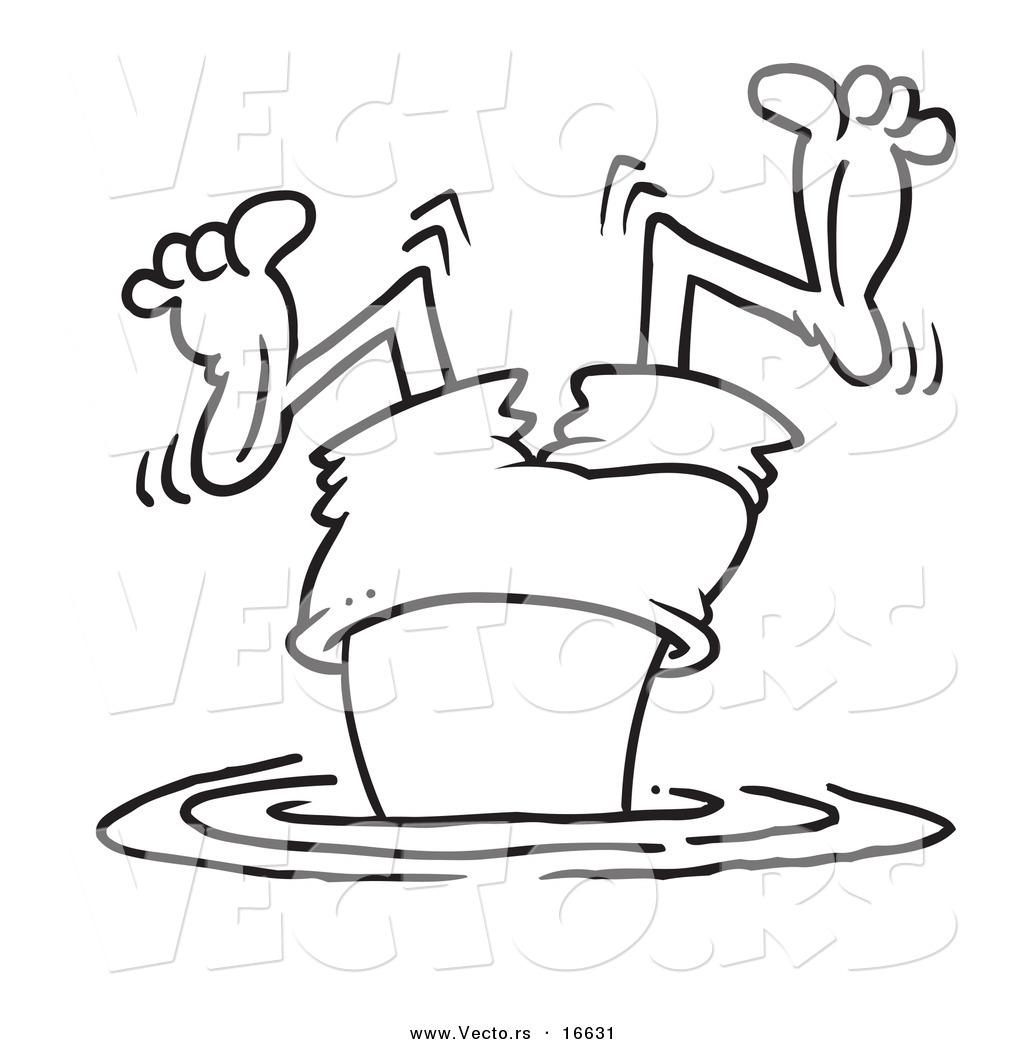 Vector Of A Cartoon Bad Diver Wiggling His Legs