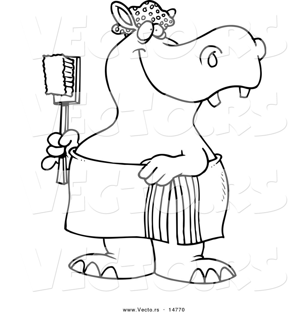 Vector Of A Cartoon Bath Time Hippo In A Towel Holding A