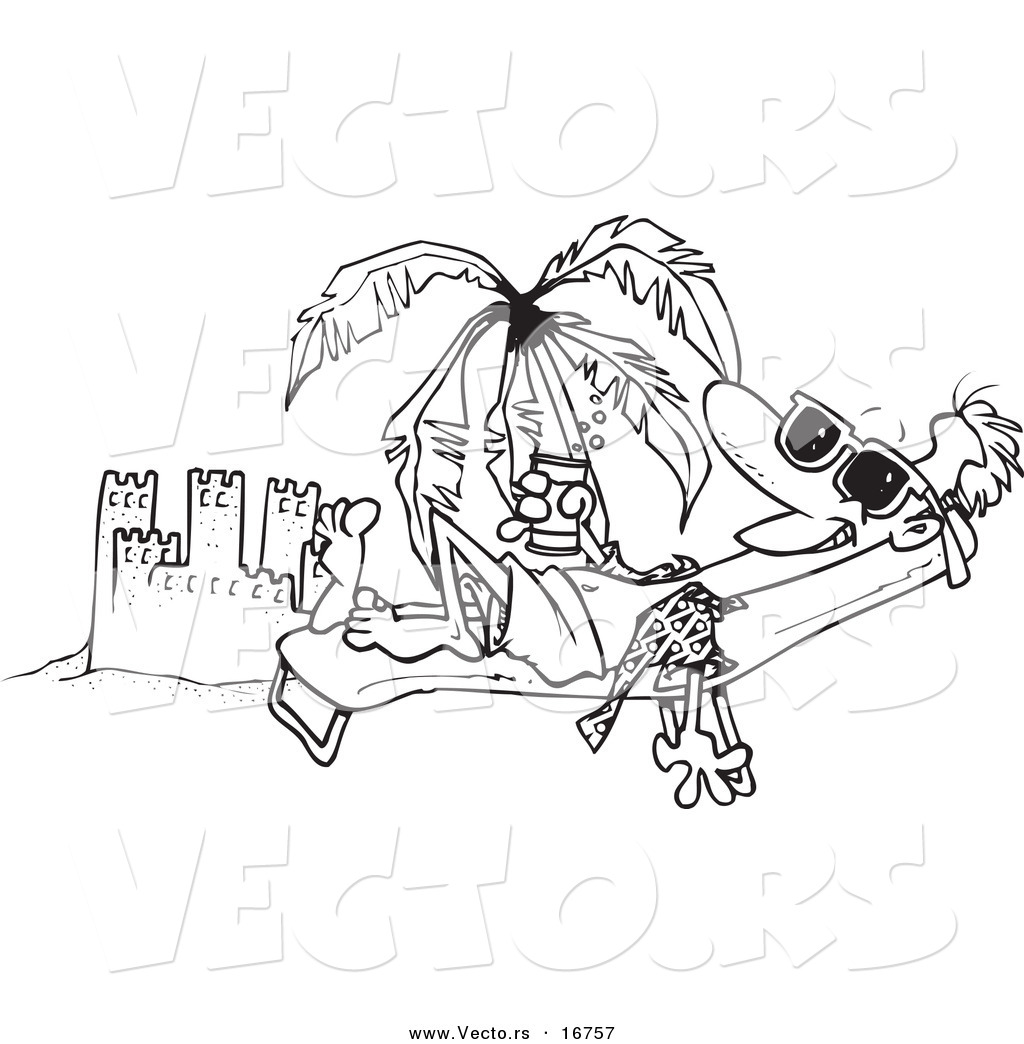 Vector Of A Cartoon Beach Bum Man Tanning By A Sand Castle