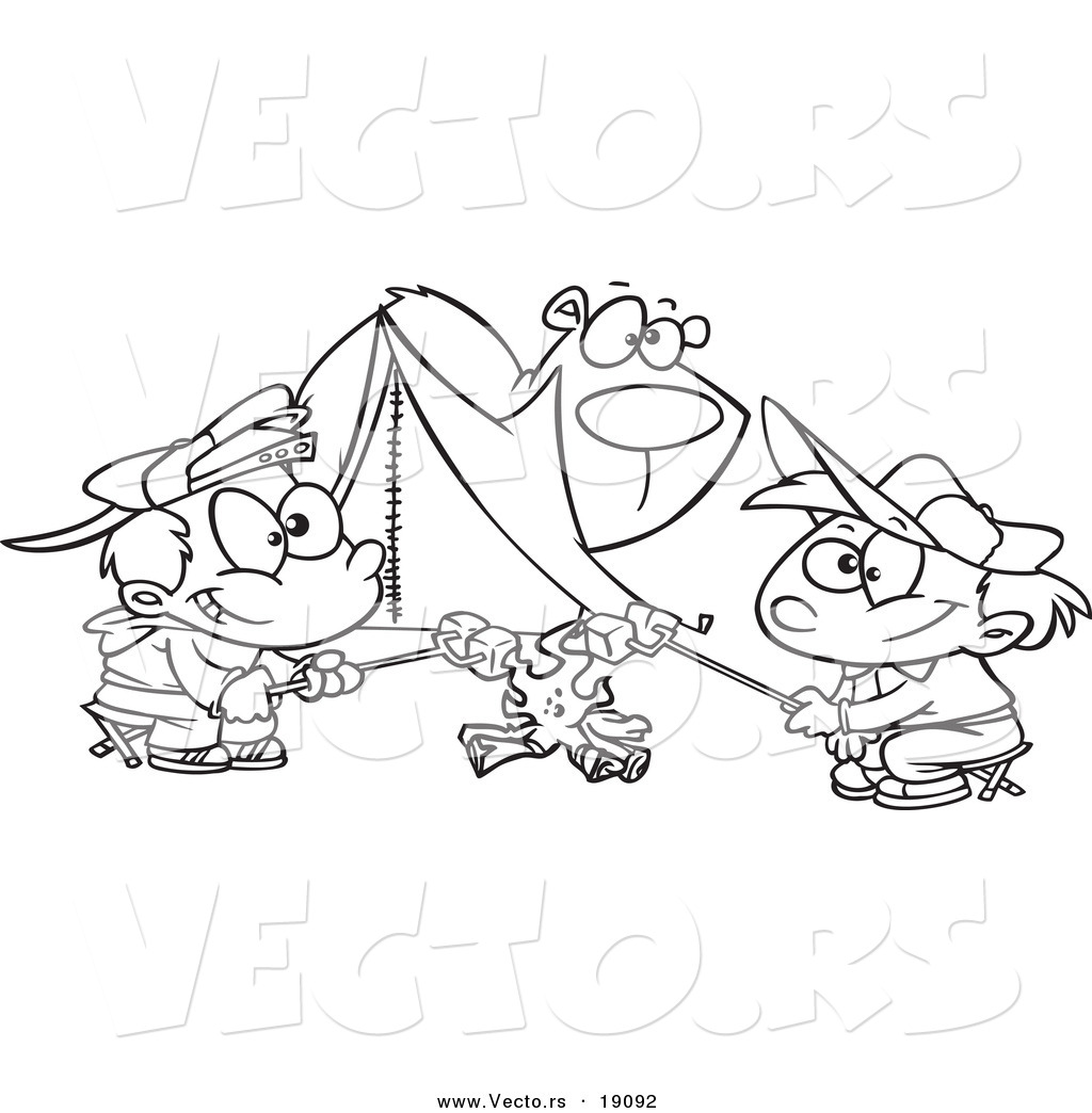 Vector Of A Cartoon Bear Watching Camping Boys Roast