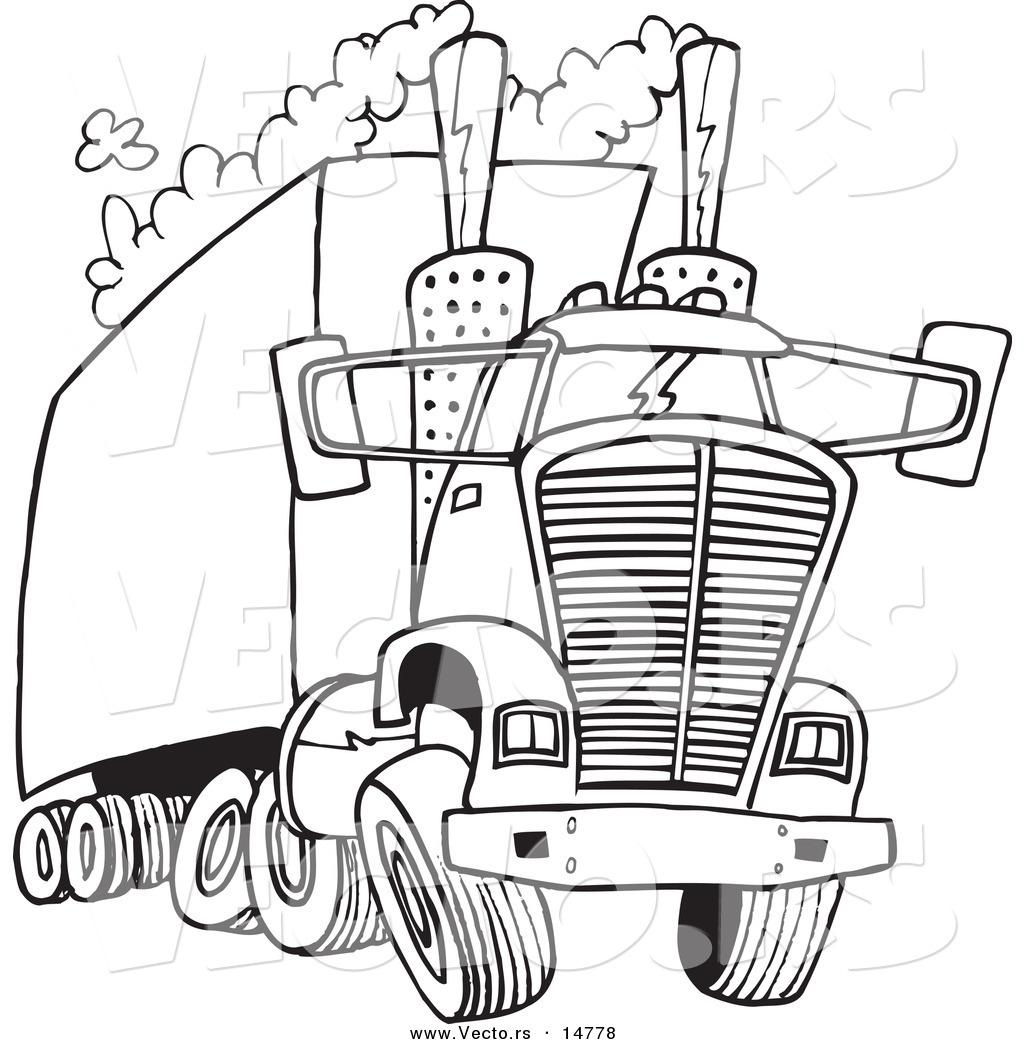 Vector Of A Cartoon Big Rig Releasing A Lot Of Exhaust