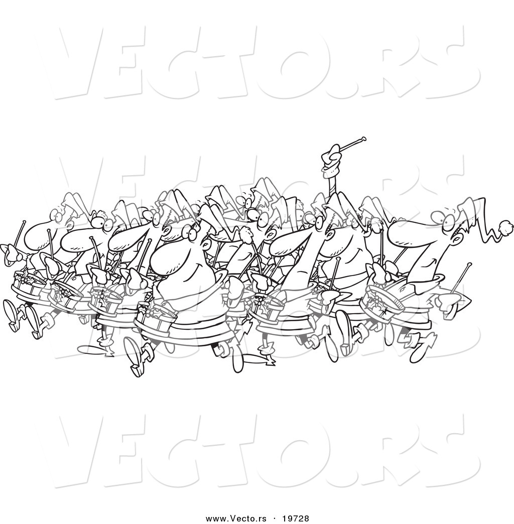 and white outline design of drummers drumming outlined