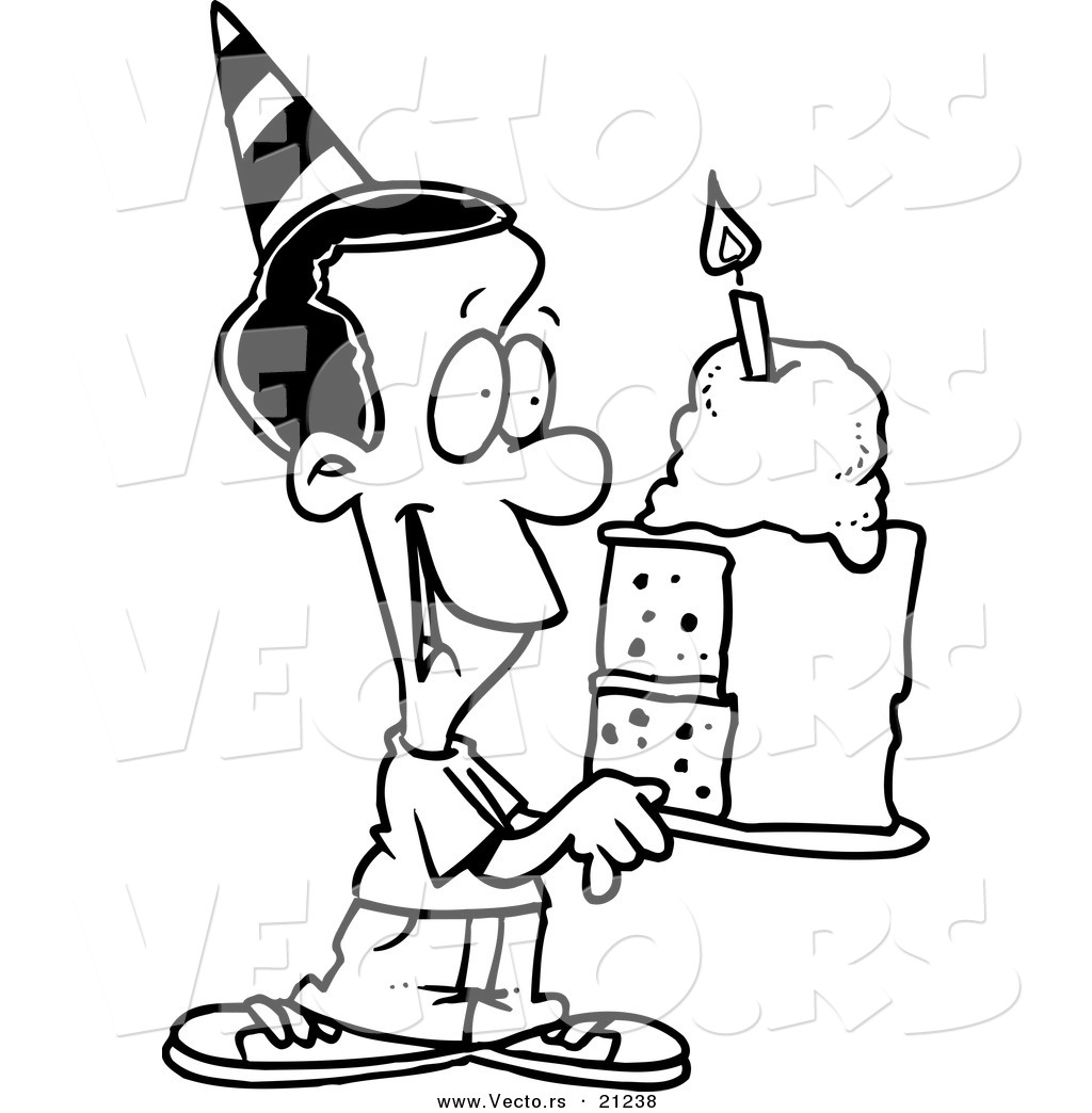Vector Of A Cartoon Black Birthday Boy Holding A Slice Of