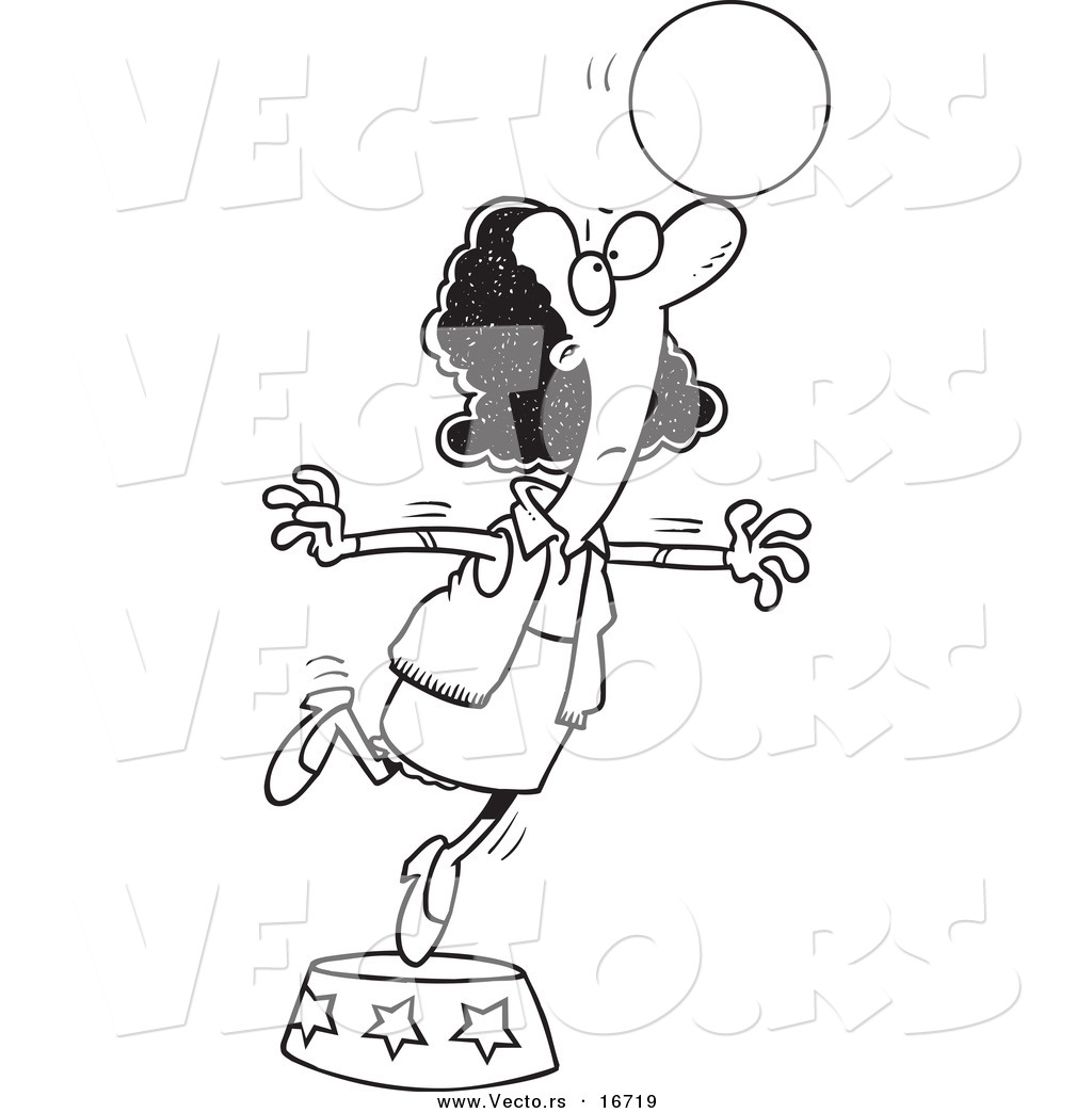 Vector Of A Cartoon Black Businesswoman Balancing A Ball On Her Nose