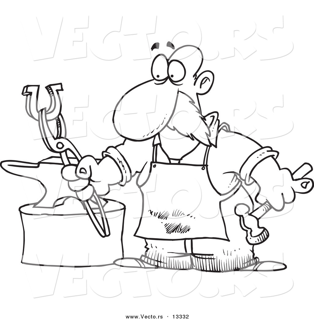 Vector Of A Cartoon Blacksmith Working On A Horseshoe