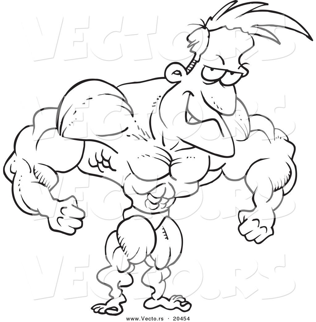 Vector Of A Cartoon Bodybuilder Flexing
