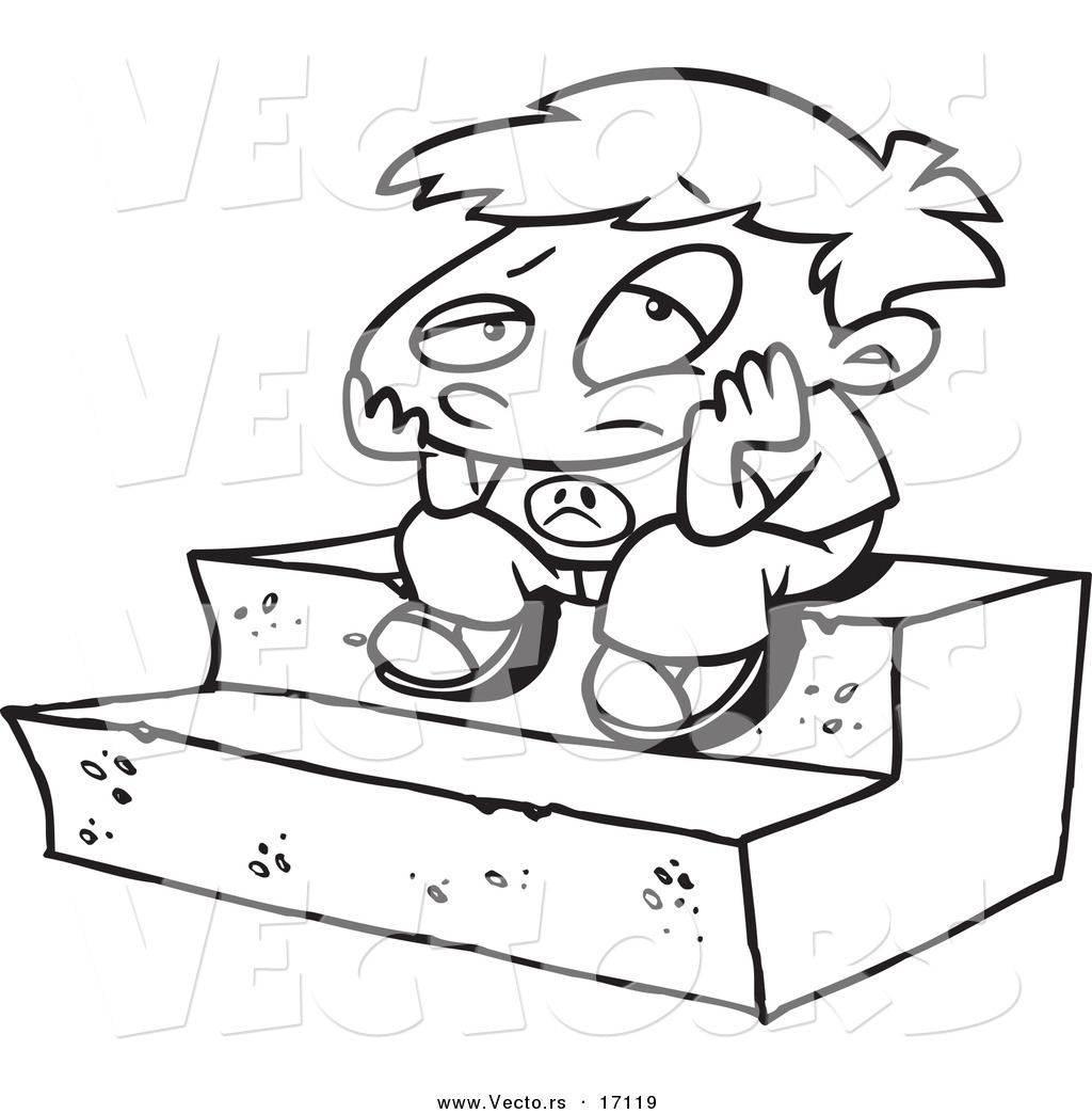 vector of a cartoon bored boy sitting on steps coloring page