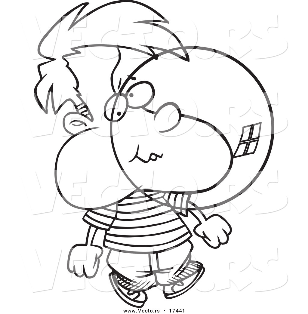 vector of a cartoon boy blowing bubble gum coloring page outline