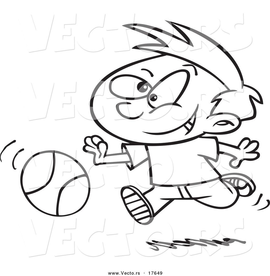 Vector Of A Cartoon Boy Dribbling A Basketball