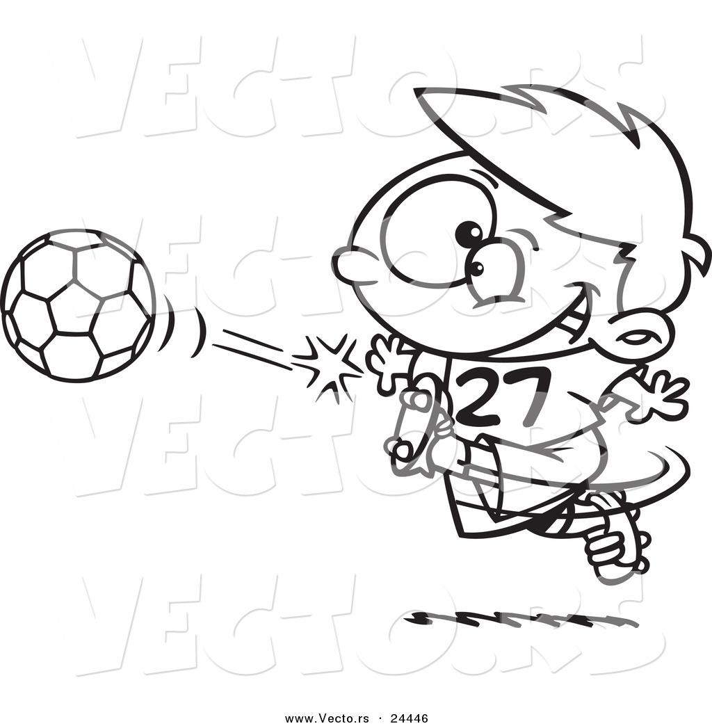 Vector Of A Cartoon Boy Kicking A Soccer Ball