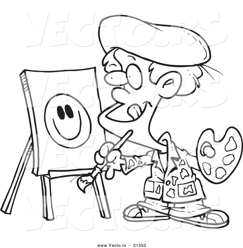 Cartoon Painting Black And White