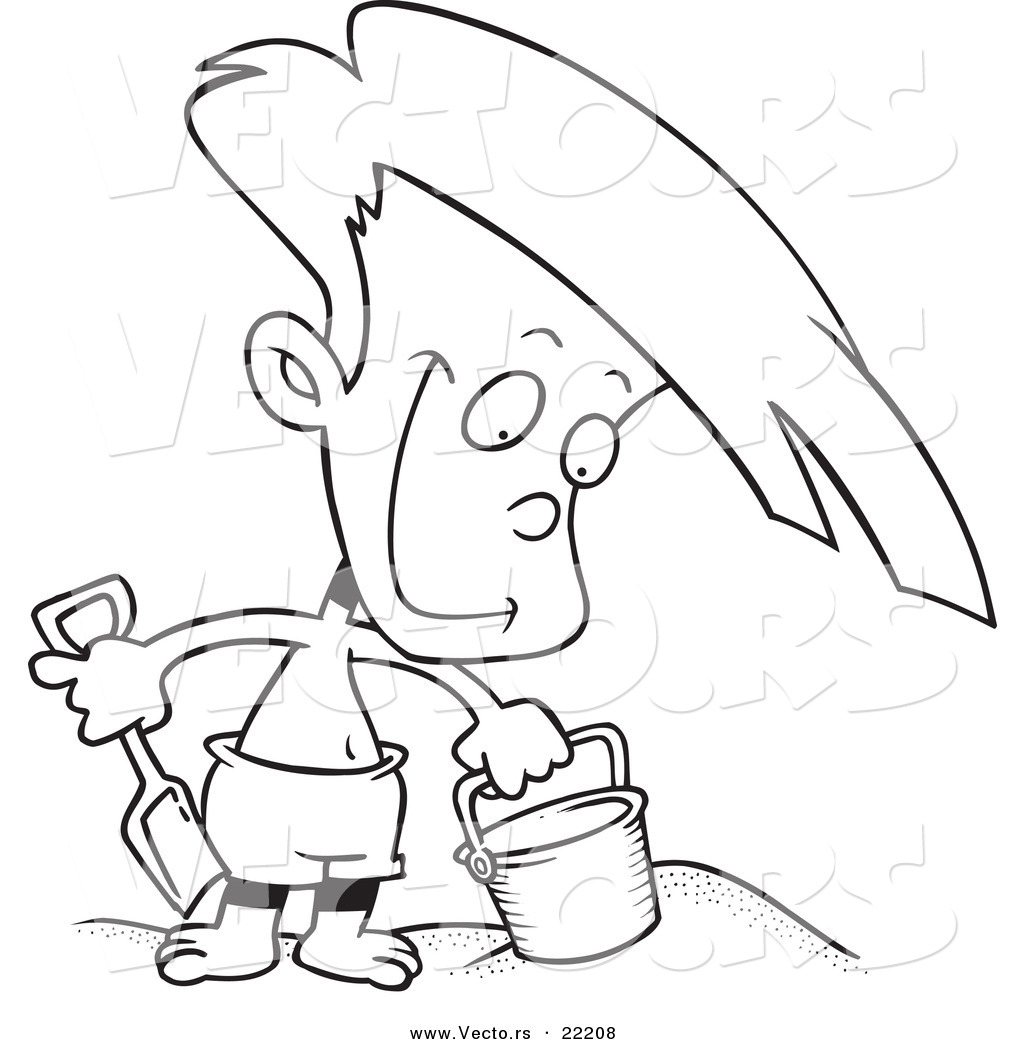 Vector Of A Cartoon Boy Playing In The Sand