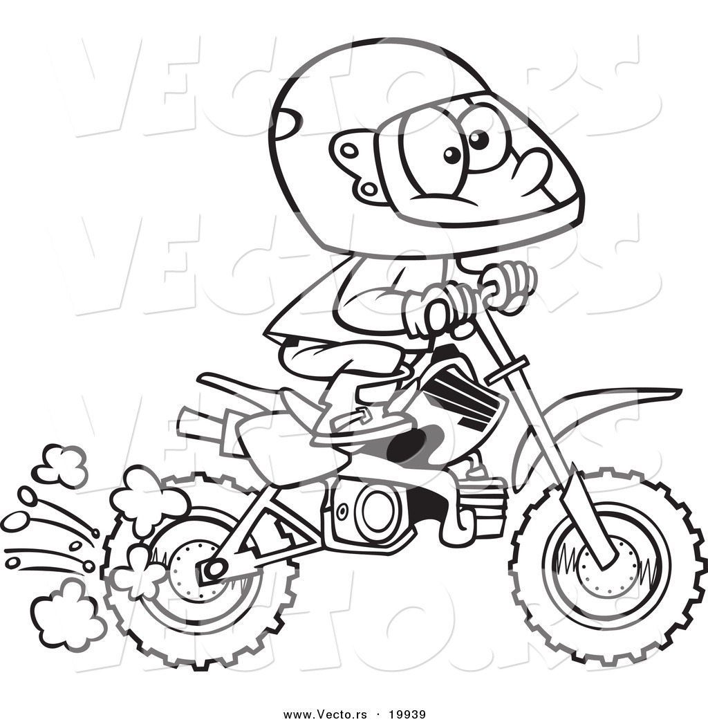 Vector Of A Cartoon Boy Riding A Dirt Bike