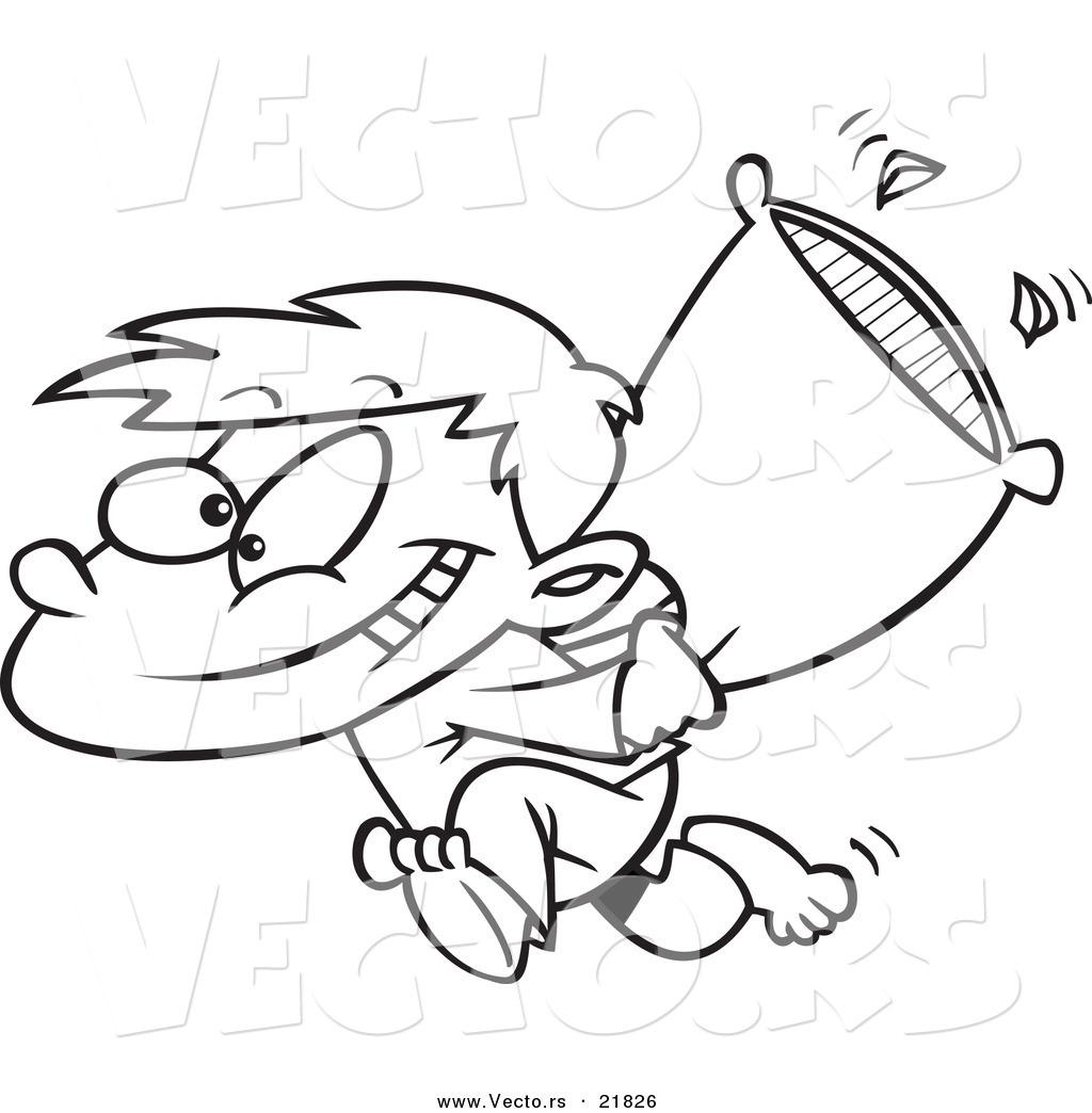 Vector Of A Cartoon Boy Starting A Pillow Fight