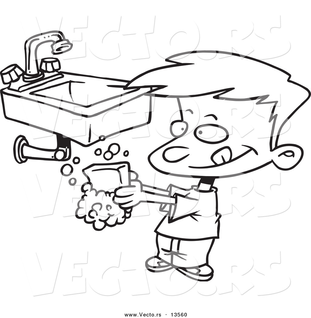 Vector Of A Cartoon Boy Washing His Hands With Soap