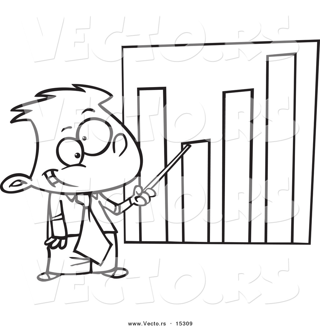 cartoon businessboy pointing to a bar graph coloring page outline