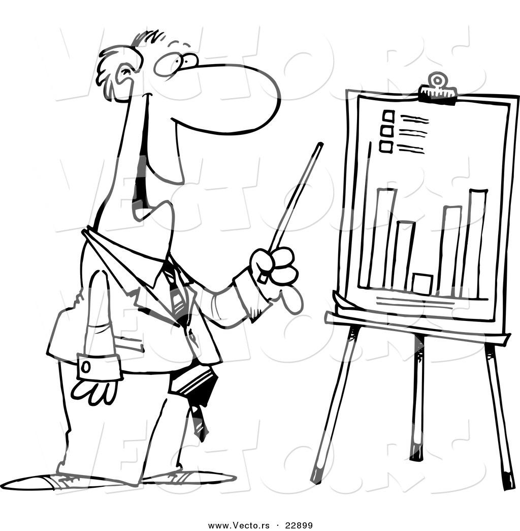 Vector Of A Cartoon Businessman Discussing A Bar Graph