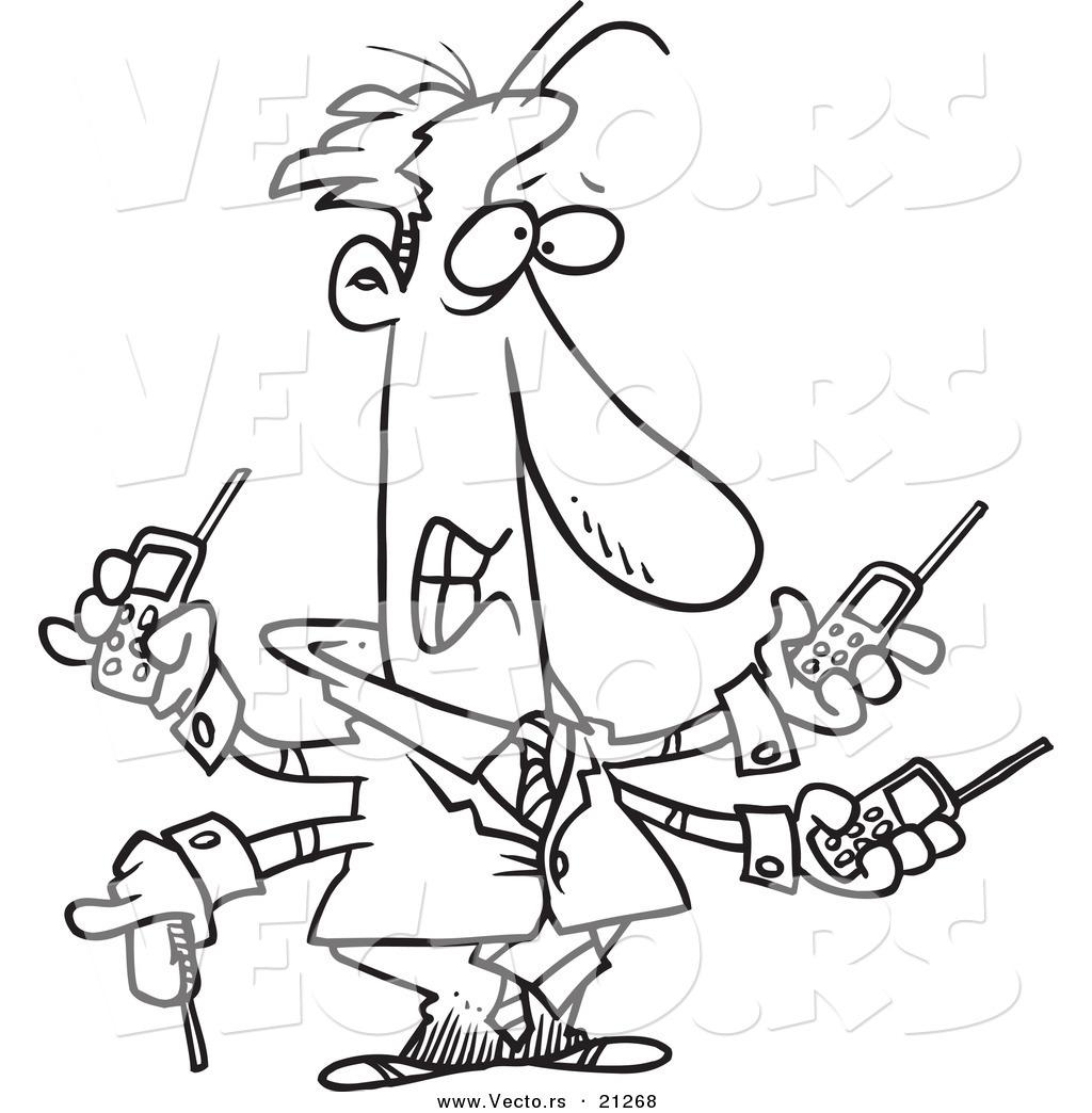 Vector Of A Cartoon Businessman Handling Multiple Cell Phones