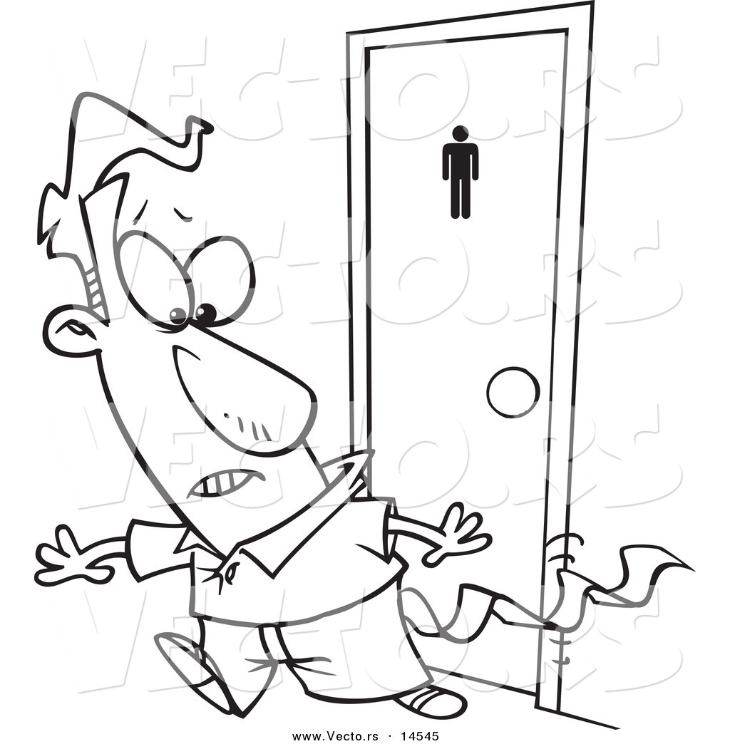 Vector Of A Cartoon Businessman Leaving A Bathroom With